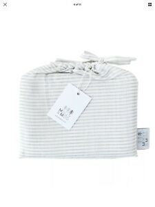 BNWT TWO  Large Organic Cotton Muslins Swaddles Grey Stripe 120cm X 120cm