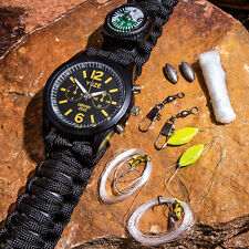 Survival Hunting Paracord Watch - Fire Starter, Whistle, Compass, Fishing Kit