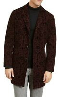 INC Mens Topcoat Red Size XL Flocked Jacquard Notch-Lapel Button-Front $179 122