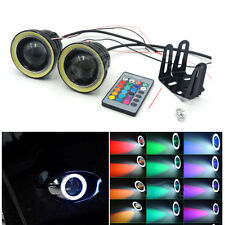 Pair 3Inch RGB LED Fog Light MultiColor with White Angel Eyes Halo Ring DRL 12V