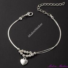 Dainty Double Strand Bead & Heart Anklet 23cm