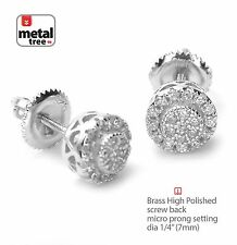 Iced Out Hip Hop Fashion Micro Mini Round Screw Back Stud Earring SE 11617 S