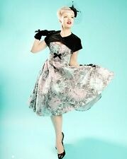 Pinup Couture Evelyn feather midi dress size Small reversible shrug 50's