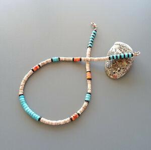 Collier amérindien homme ou femme turquoises, jaspe orange, nacre Surfeur heishi