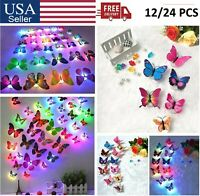 12x Glowing 3D Butterfly LED Wall Stickers Night Light Lamp DIY Home Room Decor