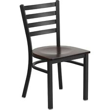 Hercules Series Black Ladder Back Metal Restaurant Chair - Walnut Wood Seat
