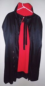 mens TEEN BOYS black red REVERSIBLE HALLOWEEN CAPE DRACULA COLLAR one size most