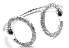 Authentic! Hermes Nausicaa 18K White Gold Diamond Horsebit Cuff Bangle Bracelet
