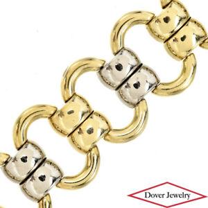 Estate Italian 18K Gold Two Tone Oval Wide Link Bracelet 44.6 Grams NR