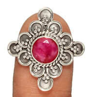 Ruby - India 925 Sterling Silver Ring Jewelry s.8 AR200807 XGB