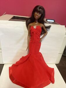 Barbie Doll Lot African American Black Model Muse body bangs go for red dress