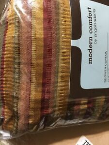 NEW Modern Comfort Shower Curtain ANGELA ADAMS LuLu Dusk Stripes 72 Brown Wine
