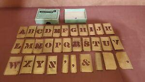 "Reese's Brass 3/4"" Stencils Interlocking Adjustable Letters 32pc. W/Box"