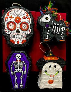 Mini Day of the Dead Sugar Skull, Skeleton, Unicorn, Ghost Pinata w Hanger NEW