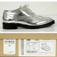 37 NEW $675 BURBERRY Womens Silver METALLIC LEATHER Wing Tip Oxfords Genni Flats