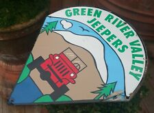GREEN RIVER VALLEY JEEPERS vtg seattle off road jeep man cave metal sign logo