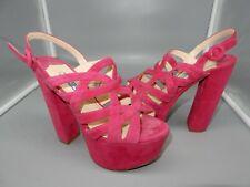 PRADA Womens magenta PINK SUEDE platform sandal heels 36 (US 6)