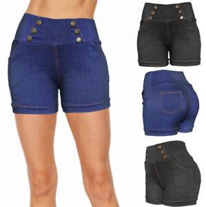 Women Denim Look High Waist Summer Causal Stretchy Cotton Shorts