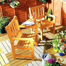 Table Chairs Garden Patio Wooden Benches Duo Love Seat Companion Furniture