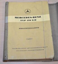 Mercedes Benz Typ 170 S-D  Ersatzteilliste Ersatzteilkatalog 1953