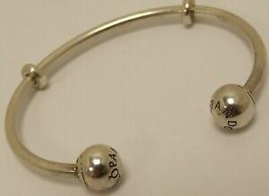 Genuine PANDORA MOMENTS OPEN Sterling Silver Bangle S925 ALE 596477 19cm