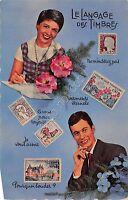 Cartolina - Postcard - Innamorati - langage des timbres - Langage Timbres