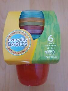 Nuby Everyday Basics 6 Colourful Food Pots & Lids 4m+ *BNIP*
