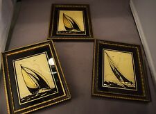 Group of 3 Reverse Painted Silhouette Sailboat Pictures Reliance Original Frames