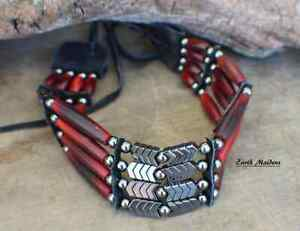 Native American 4 std Choker w/ Red Horn & Hematite William Lattie Cert of Auth