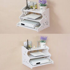 2PC Hollow Carved 3 Tier Floating Wall Mount Shelf  Bookcase Storage  White