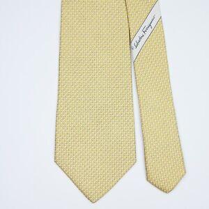SALVATORE FERRAGAMO TIE Whale on Yellow Classic Silk Necktie