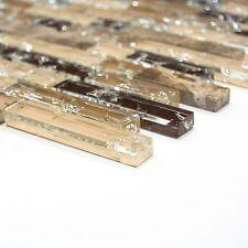 Brick Rechteck Naturstein Glas  emperador dunkel Mosaik zur Wandgestaltung