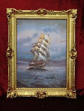 Gemälde Segelschiff Meer Schiffsbilder Seestück Maritime 90x70 Seefahrt im Sturm