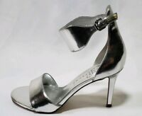 Ivanka Trump Women's Silver Leather Heels Ankle Strap Sandals Shoes! Size 7.5 M