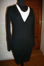 Robe tricot manche longue coton/angora noir KAPORAL 5 L 38/40 brodé dos col V
