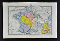 c 1860 Ansart Map - France Physical Geology River Basins Mountains Alps Seine