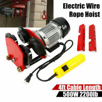 1 Ton Electric Wire Rope Hoist w/ Trolley 2200 lb 4Ft Cable All-copper Motor USA