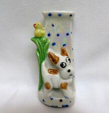 1930's Japan Porcelain Figural Child's Petite Toothbrush Holder ~ Spotted Dog