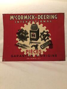 ancienne plaque tole publicitaire Mc Cormick-Deering Agricole Garage No Emaillé