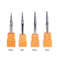 4Pcs Tapered Ball Nose End Mill Set Carbide 4mm Shank CNC Router Carving Bits