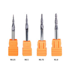 4Pcs Tapered Ball Nose End Mill Solid Carbide 4mm Shank CNC Router Carving Bits