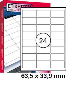 1200 St. Universal Etiketten 63,5 x 33,9 mm DIN A4 (50 Blatt) Laser Copy Inkjet
