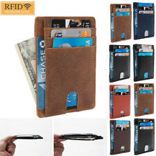 US Men Genuine Leather Ultra Slim Card Holder Wallets 8 Slots - RFID Blocking