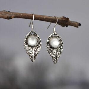 Bohemia Handwork Leaf Veins White Moonstone Earrings Party Eardrop Jewelry Gift