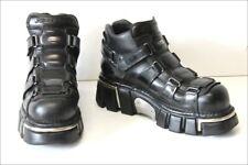 NEW ROCK Chaussures Homme Cuir Lanières Scratchs Noir T 43 TBE