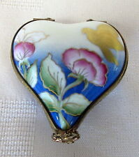 ROCHARD LIMOGES HEART BOX W/ BIRD HAND PAINTED FRANCE BNIB PORCELAIN HINGED F/S