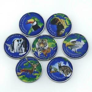 Azad Jammu Kashmir Pakistan 1 rupee Animals wildlife set of 7 color tokens 2017