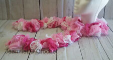 Handmade Crocheted Fashion Ruffle Scarf - Pink and White