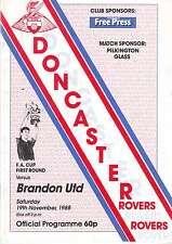 DONCASTER ROVERS V BRANDON UTD FA CUP 19 NOV 1988 RARE VGC.