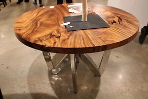 """55"""" spectacular round dining table chrome steel legs natural exotic wood 3"""" slab"""